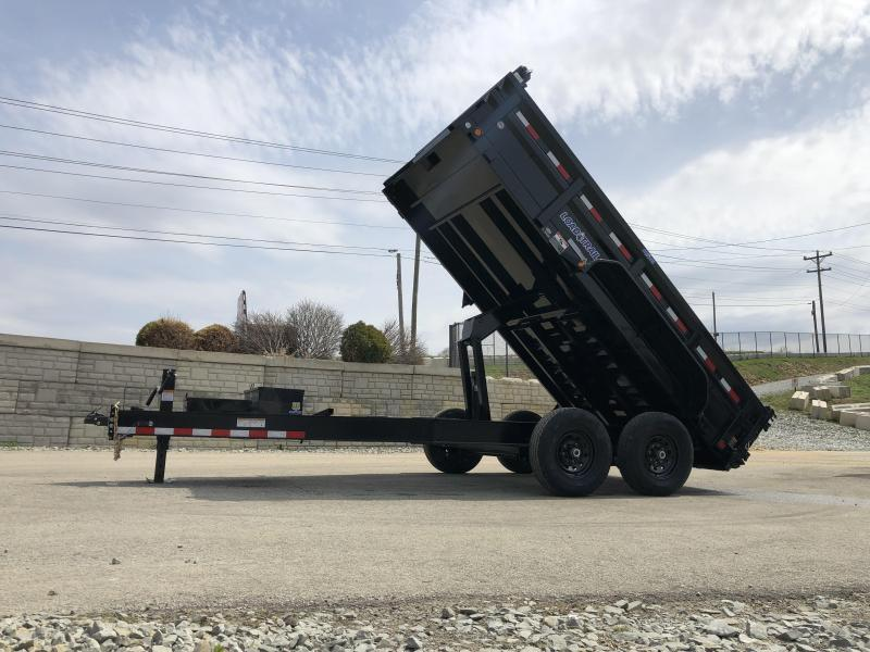 "2019 Load Trail 7x16' Dump Trailer 14000# GVW * DH8316072 * 7 GAUGE FLOOR * EXTRA 2-TIER TOOLBOX * EXTENDED TONGUE * MAX RAIL * 8"" I-BEAM FRAME * 12K JACK * 3-WAY GATE * TARP KIT * SCISSOR HOIST * 6"" TUBE BED FRAME"