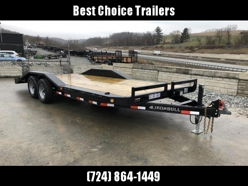 """2020 Ironbull 102""""x22' Buggy Hauler Car Trailer 9990# GVW * 102"""" DECK * DRIVE OVER FENDERS * 16"""" O.C. FLOOR * 6"""" CHANNEL TONGUE/FRAME * CHANNEL C/M * RUBRAIL/STAKE POCKETS/PIPE SPOOLS/D-RINGS * ADJUSTABLE COUPLER * DROP LEG JACK * DEXTER'S"""