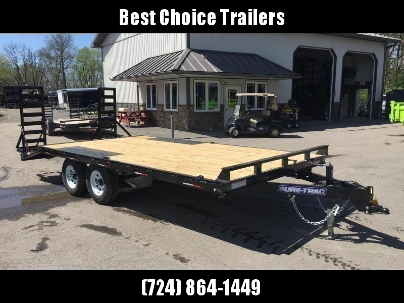 2020 Sure-Trac 102x17+3 9990# Deckover Equipment Trailer * STAND UP RAMPS