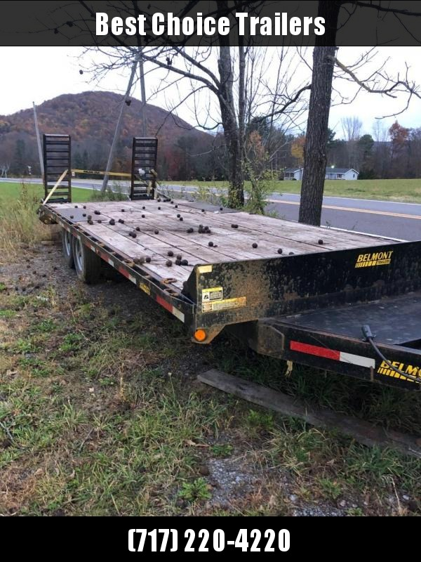 USED 2014 Belmont 102x24' Beavertail Flatbed Trailer 14000# GVW * FRONT TOOLBOX * 3RD RAMP * 14-PLY TIRES