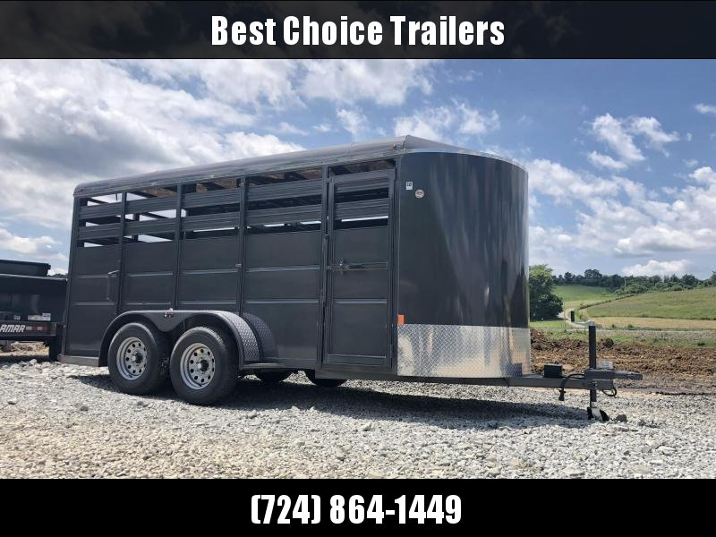2019 Delta 16' Livestock Trailer 7000# GVW * GREY * CENTER GATE * ESCAPE DOOR * DEXTER