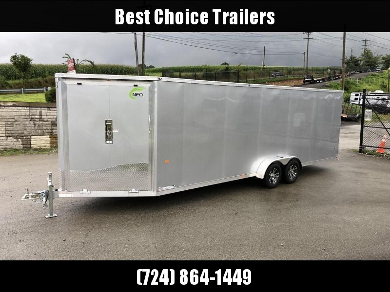 "2020 Neo 7x28' NASF Aluminum Enclosed All-Sport Trailer 7000# GVW * 7' HEIGHT UTV PKG * SILVER EXTERIOR * FRONT/REAR NXP RAMP * VINYL WALLS * SPORT TIE DOWN SYSTEM * 16"" O.C. FLOOR * PRO STAB JACKS * UPPER CABINET * ALUMINUM WHEELS * SCREWLESS * 1 PC ROOF"