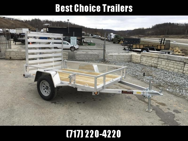 "2020 QSA 5x8' Aluminum Utility Landscape Trailer 2990# GVW * STANDARD MODEL * TUBE FRAME AND TONGUE * SPARE MOUNT * TIE DOWNS * 4' FOLD IN GATE * LED'S * FENDER GUSSETS * 3500# AXLE * 15"" TIRES * TUBE TOP RAIL"