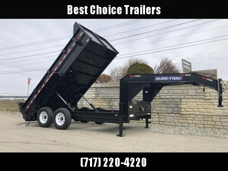 2020 Sure-Trac 7x14' Gooseneck Dump Trailer 14000# GVW * I-BEAM NECK * FULL FRONT TOOLBOX * DUAL JACKS * DUAL PISTON * FRONT/REAR BULKHEAD * INTEGRATED KEYWAY * 2' SIDES * UNDERBODY TOOL TRAY * 110V CHARGER * COMBO GATE * SPARE MOUNT * SEALED HARNESS