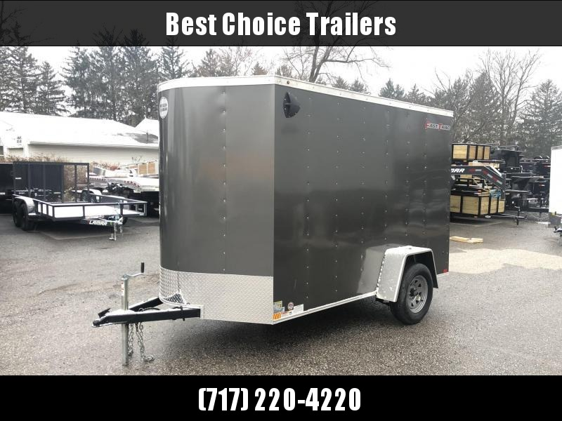 """2020 Wells Cargo 6x10' Fastrac DELUXE Enclosed Cargo Trailer 2990# GVW * CHARCOAL EXTERIOR * RAMP DOOR * V-NOSE * .030 EXTERIOR * 6'6"""" HEIGHT * TUBE STUDS * 3/8"""" WALLS * 1 PC ROOF * 16"""" O.C. WALLS * BULLET LED'S"""