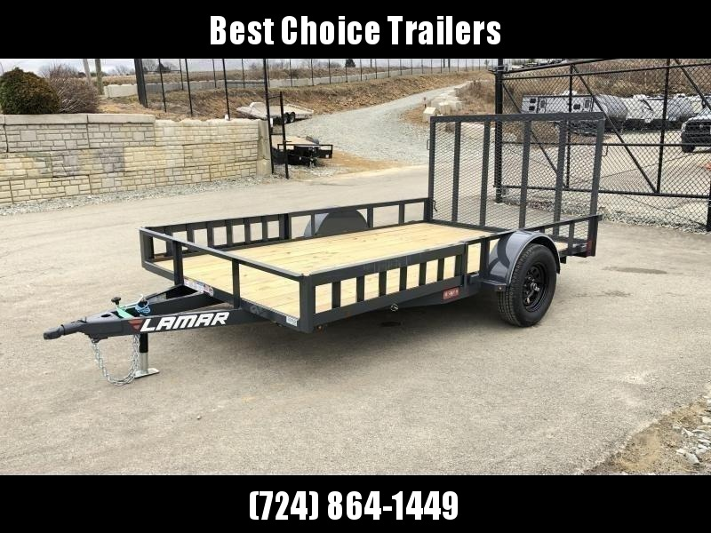 """2020 Lamar 7x14' ATV Utility Landscape Trailer 2990# GVW * ATV RAMPS * CHARCOAL * CAST COUPLER * SEALED COLD WEATHER HARNESS * 4"""" CHANNEL FULL WRAP TONGUE * STAKE POCKET TIE DOWNS * 2X2"""" TUBE GATE C/M * SPRING ASSIST GATE * SWVIEL JACK"""