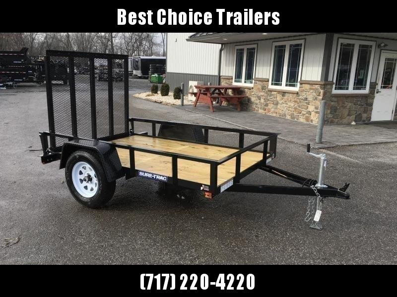 "2020 Sure-Trac 5x8' Utility Landscape Trailer 2990# GVW * 2X2"" TUBE GATE C/M + FOLD FLAT * TOOLESS GATE REMOVAL * CHANNEL TONGUE * REAR BOARD RETAINER * HD FENDERS * ZINC JACK * RADIAL TIRES * POWDERCOATED"