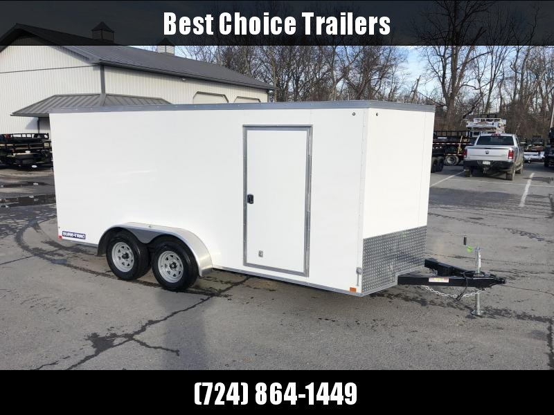 2020 Sure-Trac 7x16' Enclosed Cargo Trailer 7000# GVW * WHITE EXTERIOR * V-NOSE * RAMP * .030 SEMI-SCREWLESS EXTERIOR * TUBE STUDS * RV DOOR * BULLET LED'S * UNDERCOATED