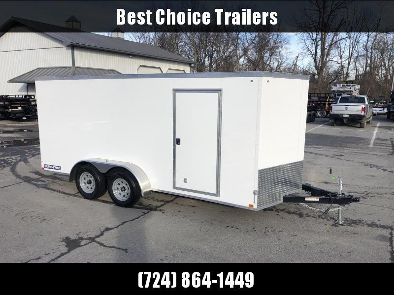 2020 Sure-Trac 7x16' Enclosed Cargo Trailer 7000# GVW * WHITE EXTERIOR * V-NOSE * RAMP * .030 SEMI-SCREWLESS EXTERIOR * TUBE STUDS * RV DOOR * BULLET LED'S * UNDERCOATED