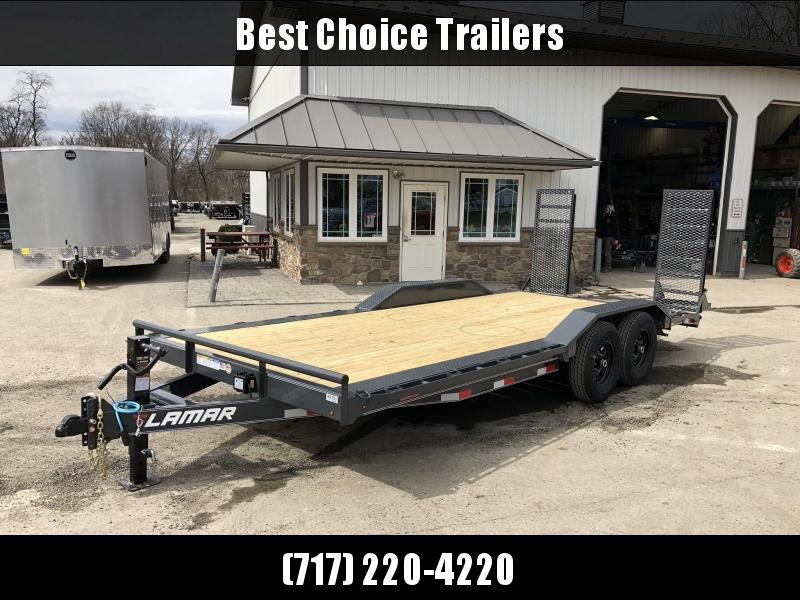 "2020 Lamar 102x20' Equipment Trailer 14000# GVW * DELUXE RAMPS * CHARCOAL * 102"" DECK * DRIVE OVER FENDERS * CHARCOAL * D-RINGS"