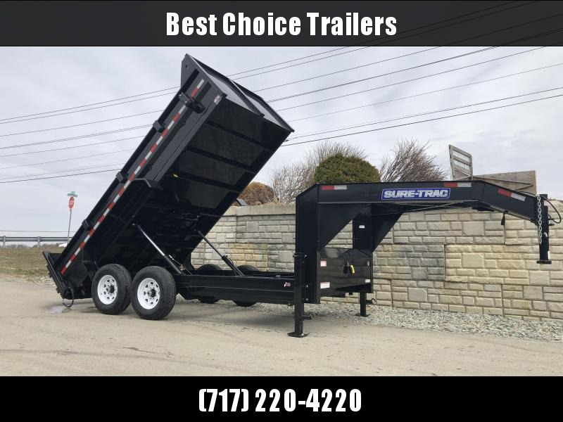 2019 Sure-Trac 7x14' Gooseneck Dump Trailer 14000# GVW * NEW I-BEAM NECK AND FULL FRONT TOOLBOX * CLEARANCE