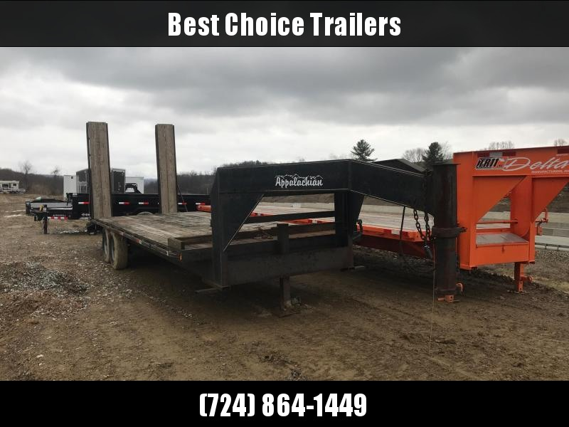 USED 2006 Appalachian 102x25' Gooseneck Deckover Trailer 14000# GVW * EXTENDED LENGTH RAMPS * WOOD DOVETAIL * CHAIN BASKET