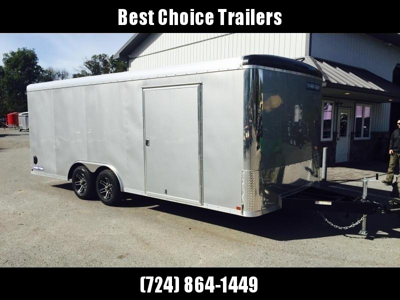 "2020 Sure-Trac 8.5x24' Pro Series Enclosed Car Hauler Trailer 9900# GVW * SILVER EXTERIOR * .030 SCREWLESS EXTERIOR * ROUND TOP * ALUMINUM WHEELS * 1 PC ROOF * 7K DROP JACK * 6"" TUBE FRAME * 48"" RV DOOR * PLYWOOD * 5200# AXLES * TUBE STUDS"