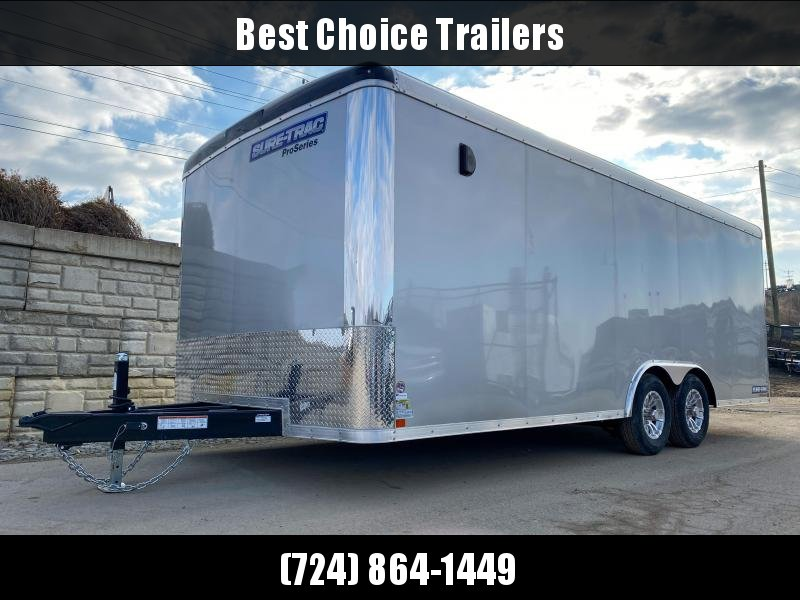 "2020 Sure-Trac 8.5x20' Pro Series Enclosed Car Hauler Trailer 9900# GVW * SILVER EXTERIOR * .030 SCREWLESS EXTERIOR * ROUND TOP * ALUMINUM WHEELS * 1 PC ROOF * 7K DROP JACK * 6"" TUBE FRAME * 48"" RV DOOR * PLYWOOD * 5200# AXLES * TUBE STUDS"