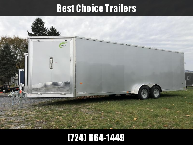 """2019 Neo 7x28' NASF Aluminum Enclosed All-Sport Trailer * SILVER * FRONT RAMP * NXP LATCHES * FLOOR TIE DOWN SYSTEM * REAR JACKSTANDS * UPGRADED 16"""" OC FLOOR * UPPER CABINET * UTV * ATV * Motorcycle * Snowmobile * CLEARANCE"""