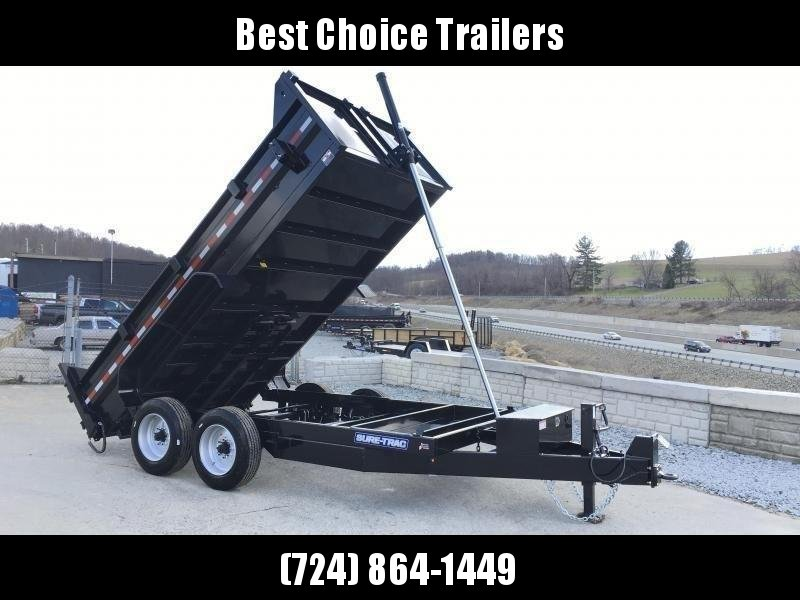 2020 Sure-Trac 7x14' HD Dump Trailer 16000# GVW * 8000# AXLES * TELESCOPIC HOIST * FRONT/REAR BULKHEAD * INTEGRATED KEYWAY * 2' SIDES * UNDERBODY TOOL TRAY * ADJUSTABLE COUPLER * 110V CHARGER * UNDERMOUNT RAMPS * COMBO GATE * 7K DROP LEG JACK * SPARE MOUN