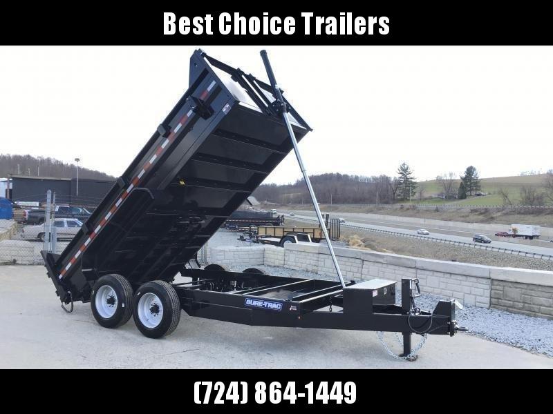 2020 Sure-Trac 7x14' HD Dump Trailer 16000# GVW * 8000# AXLES * TELESCOPIC HOIST * FRONT/REAR BULKHEAD * INTEGRATED KEYWAY * 2' SIDES * UNDERBODY TOOL TRAY * ADJUSTABLE COUPLER * 110V CHARGER * UNDERMOUNT RAMPS * COMBO GATE * 7K DROP LEG JACK * SPARE MOUN