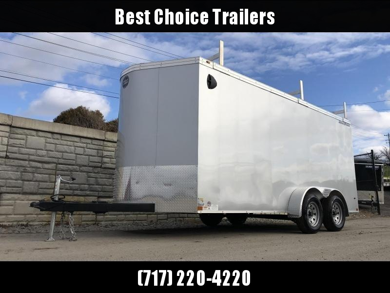 "2020 Wells Cargo 7x16' Road Force Enclosed Contractor Trailer 7000# GVW * WHITE * CONTRACTOR PACKAGE * 3 LADDER RACKS * 3/4"" WALLS * .030 * 1 PC ALUM ROOF * 6'6"" HEIGHT * TUBE STUDS * SCREWLESS * ARMOR GUARD"