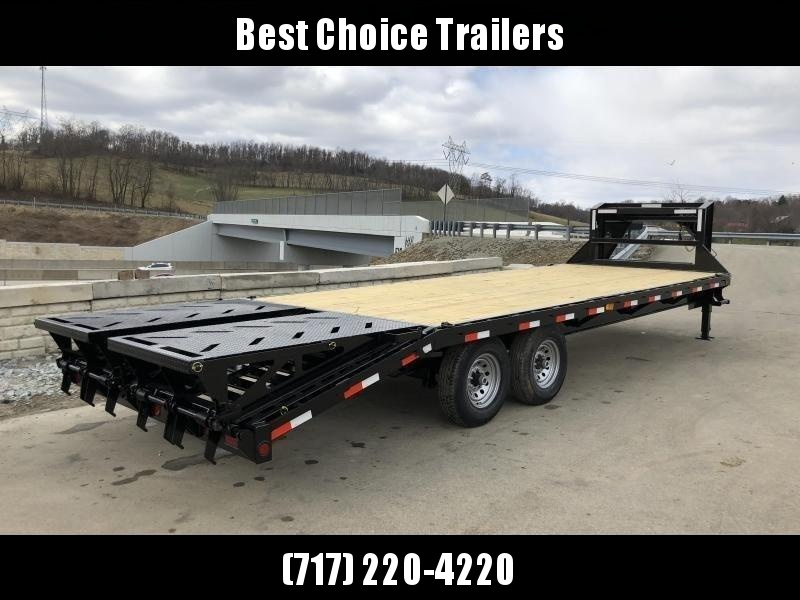 2020 Ironbull 102x25+5' Gooseneck Beavertail Flatbed Deckover  14000# GVW * FULL WIDTH RAMPAGE RAMPS * I-BEAM FRAME * RUBRAIL/STAKE POCKETS/PIPE SPOOLS/D-RINGS * DUAL JACKS * FULL TOOLBOX * DEXTER'S
