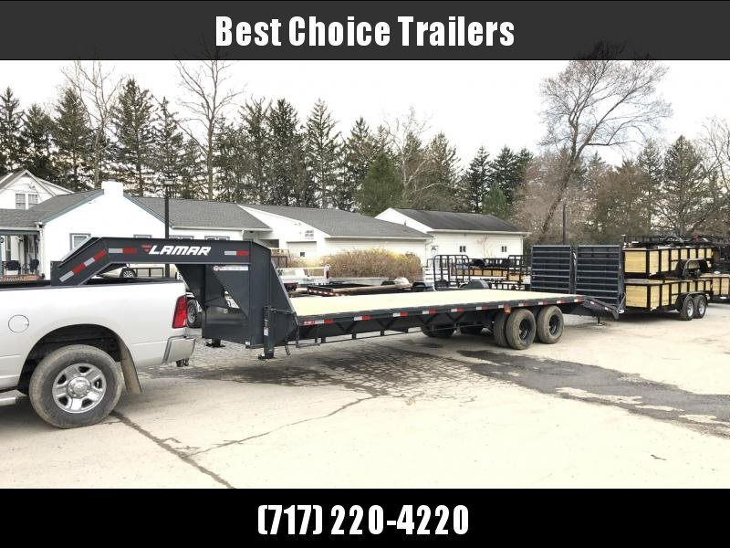 "2020 Lamar 102x30' Gooseneck Beavertail Deckover Trailer 22500# * FULL WIDTH RAMPS * CHARCOAL * 12"" / 19# I-BEAM * DEXTER TANDEM DUALS * FRONT TOOLBOX / DUAL JACKS * UNDER FRAME BRIDGE"