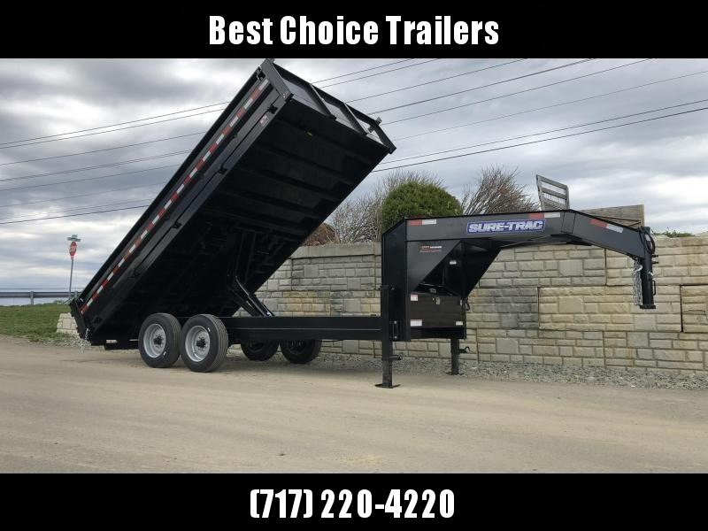 "2020 Sure-Trac 8x16' Gooseneck Deckover Dump Trailer 16000# GVW * 8000# AXLE UPGRADE * 17.5"" TIRES * 3 3/8"" BRAKES * DUAL JACKS * FULL TOOLBOX * I-BEAM NECK * 20"" FOLD DOWN SIDES * EXTENDED 90"" RAMPS * OVERSIZE 8"" TUBE TONGUE/6"" HEAVY WALL FRAME * 6"" SCIS"