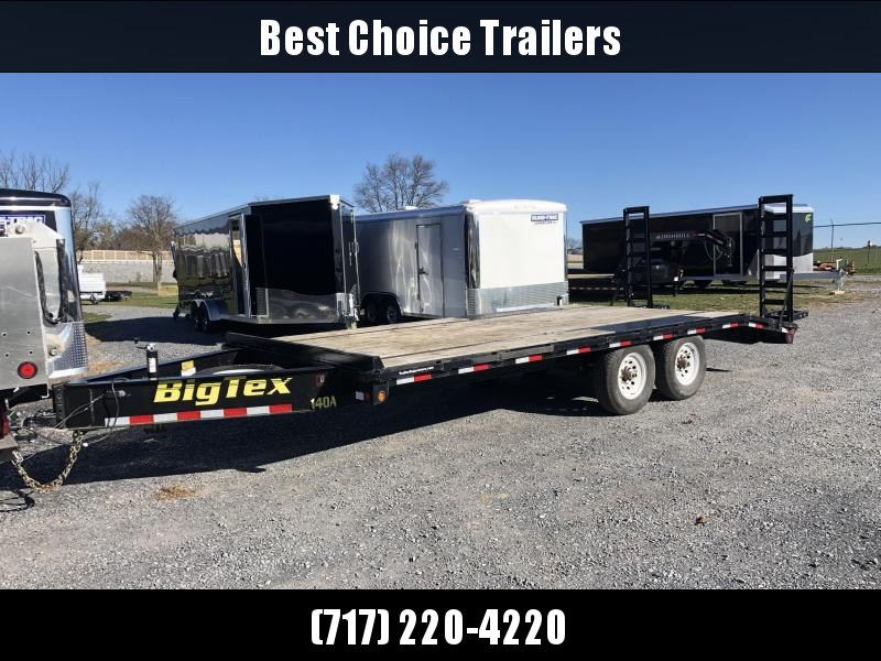 "USED 2016 Big Tex 102x20' Beavertail Flatbed Trailer 14000# GVW * 12"" I-BEAM FRAME * PIERCED FRAME * CHAIN TRAY * SPARE TIRE"