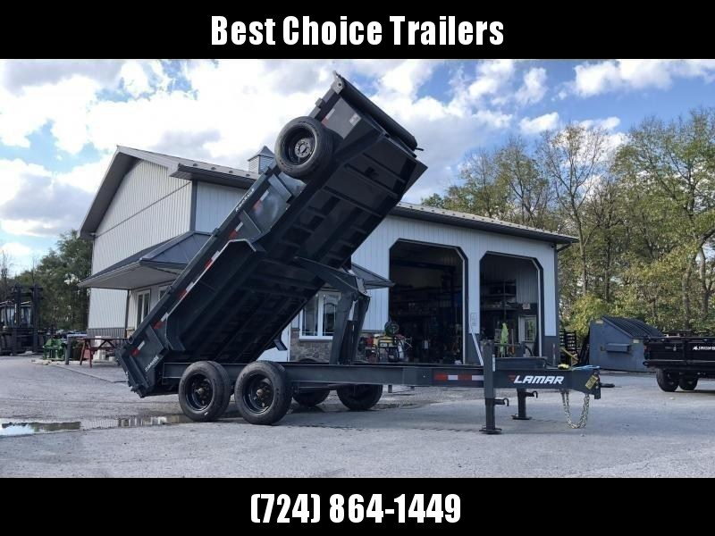 "2020 Lamar 7x16' Dump Trailer 16000# GVW * DEXTER 8K AXLE UPGRADE * OVERSIZE 6X21.5 11-TON SCISSOR HOIST * DUAL 12K JACKS * 7GA FLOOR * 17.5"" 16-PLY TIRES * SPARE TIRE * JACKSTANDS * TARP KIT * CHARCOAL * RIGID RAILS * NESTLED I-BEAM FRAME 28"" H * 12"" O.C"