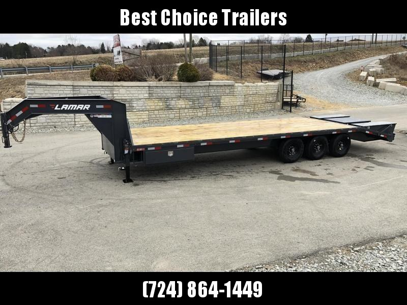 "2020 Lamar 102x23+5' Gooseneck Beavertail Deckover Trailer 21000# * 2 FLIPOVER RAMPS + POP UP DOVE * SIDE TOOLBOX * CHARCOAL * 12"" BEAM * FRONT TOOLBOX / DUAL JACKS"