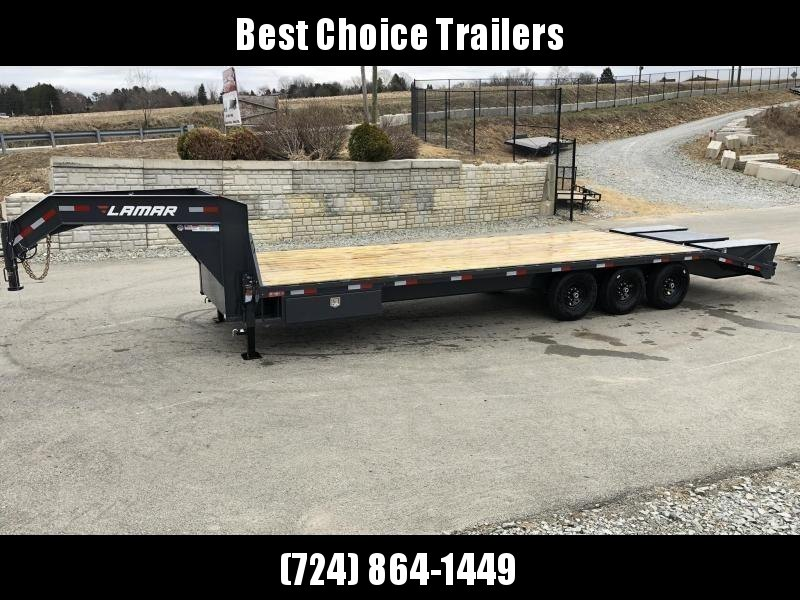 "2020 Lamar 102x28' Gooseneck Beavertail Deckover Trailer 21000# GVW * FLIPOVER RAMPS+POP UP DOVE * 4' SIDE TOOLBOX * 12"" I-BEAM FRAME * FRONT TOOLBOX * DUAL JACKS * CHARCOAL * 16"" O.C. C/M * RUBRAIL/STAKE POCKETS/PIPE SPOOLS * 4X8"" TUBE BUMPER"