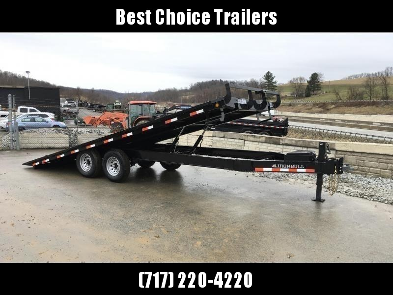 "2019 Ironbull 102x22' Deckover Power Tilt Trailer 14000# GVW * DUAL PISTON * I-BEAM FRAME * RUBRAIL/STAKE POCKETS/PIPE SPOOLS/D-RINGS/BANJO EYES * 6"" TUBE BED FRAME * 4X4X1/4 WALL TUBE BED RUNNERS (12#/') * DEXTER'S * 2-3-2 WARRANTY * CLEARANCE"