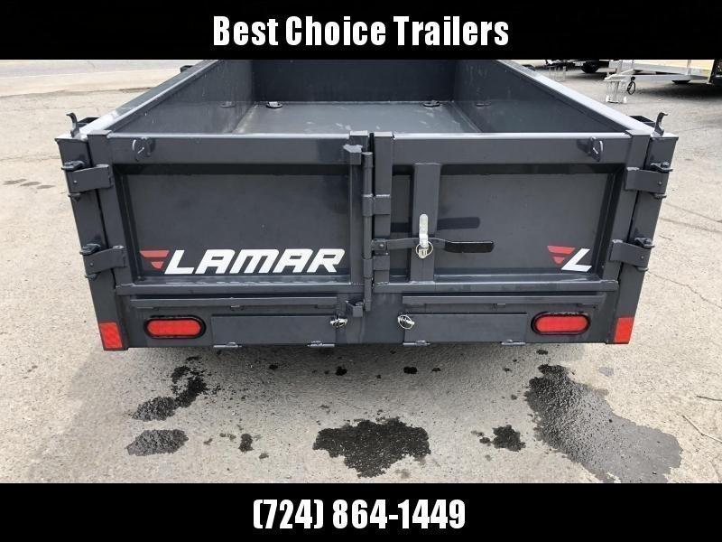 2020 Lamar 5x10' Tandem Axle DS60 Dump Trailer 7000# GVW * SPARE MOUNT * RAMPS * CHARCOAL W/ BLACK WHEELS * RIGID RAIL * ADJUSTABLE COUPLER * 7K JACK * 110V CHARGER