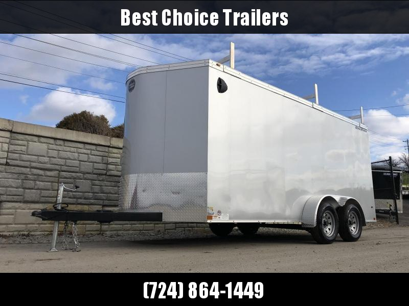 """2020 Wells Cargo 7x16' Road Force Enclosed Contractor Trailer 7000# GVW * BLACK * CONTRACTOR PACKAGE * 3 LADDER RACKS * 3/4"""" WALLS * SCREWLESS .030 EXTERIOR * 1 PC ALUM ROOF * 6'6"""" HEIGHT * TUBE STUDS * RV DOOR * ARMOR GUARD * EXTENDED TRIPLE TUBE TONGUE"""