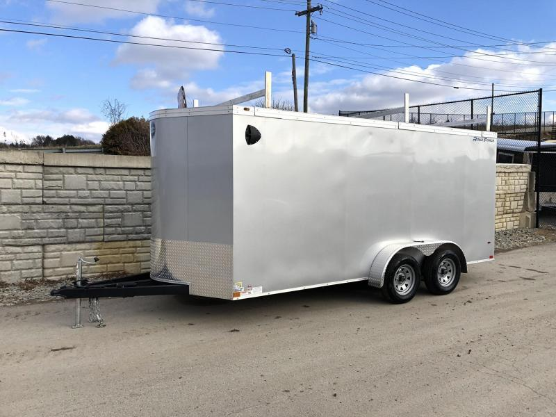 """2020 Wells Cargo 7x16' Road Force Enclosed Contractor Trailer 7000# GVW * BLACK * CONTRACTOR PACKAGE * 3 LADDER RACKS * 3/4"""" WALLS * .030 * 1 PC ALUM ROOF * 6'6"""" HEIGHT * TUBE STUDS * SCREWLESS * ARMOR GUARD"""