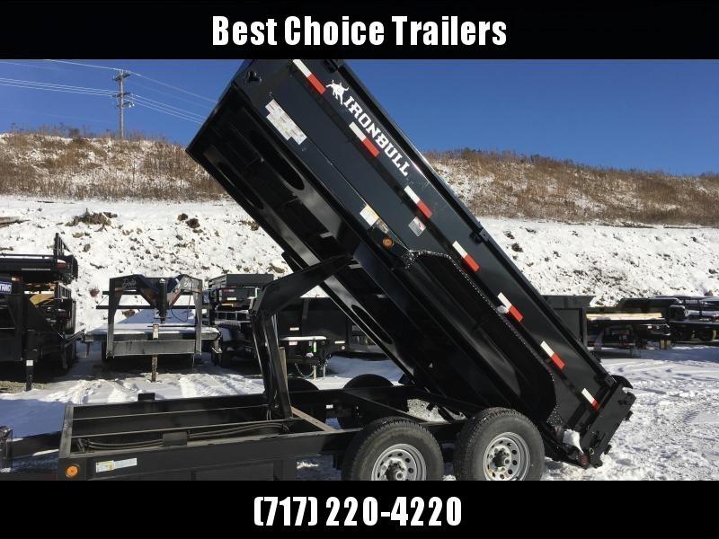 "2019 Ironbull 7x14' Dump Trailer 14000# GVW * RAMPS * TARP * SCISSOR * SPARE MOUNT * STACKED I-BEAM FRAME * 6"" BEDFRAME * 2PC 10GA BED & WALLS * CLEARANCE"