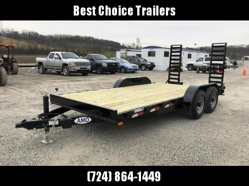 """2020 AMO 7x16' Equipment Trailer 9990# GVW * ALL LED LIGHTS * STAND UP RAMPS * BEAVERTAIL * STACKED 5"""" CHANNEL TONGUE/FRAME * DROP LEG JACK * REMOVABLE FENDERS"""