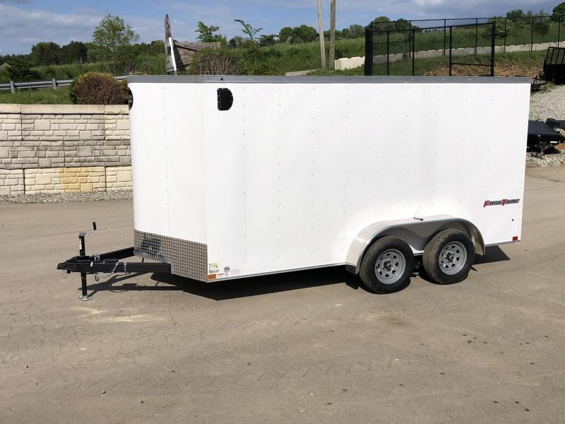 "2020 Wells Cargo 7x14' Fastrac Deluxe Enclosed Cargo Trailer 7000# GVW * WHITE * BARN DOORS * V-NOSE * 6'6"" HEIGHT * 1 PC ALUM ROOF"