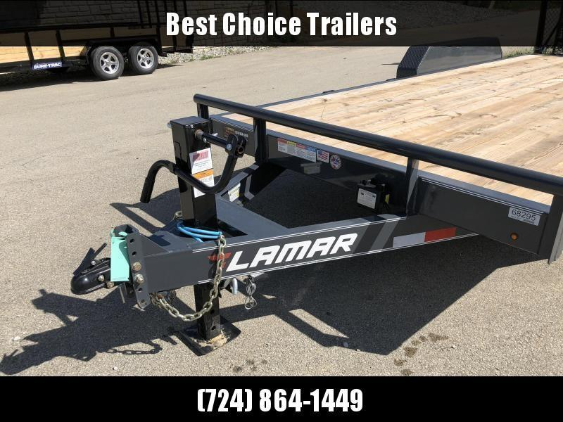 2020 Lamar 7x16' Equipment Trailer 14000# GVW * DELUXE OVERWIDTH RAMPS W/ HEAVY MESH * CHARCOAL POWDERCOAT * RUBRAIL/STAKE POCKETS/PIPE SPOOLS/D-RINGS * REM FENDERS * 12K JACK * CAST COUPLER * SPRING ASSIST * COLD WEATHER HARNESS * DIA PLATE DOVETAIL