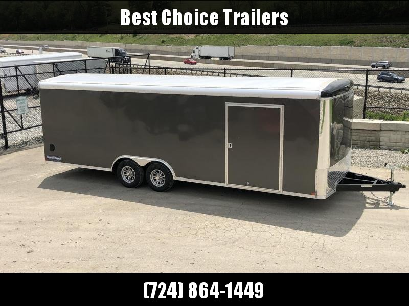 """2019 Sure-Trac 8.5x24' Pro Series Enclosed Car Hauler Trailer 9900# GVW * CHARCOAL EXTERIOR * .030 SCREWLESS EXTERIOR * ROUND TOP * ALUMINUM WHEELS * 1 PC ROOF * 7K DROP JACK * 6"""" TUBE FRAME * 48"""" RV DOOR * PLYWOOD * 5200# AXLES * TUBE STUDS * CLEARANCE"""
