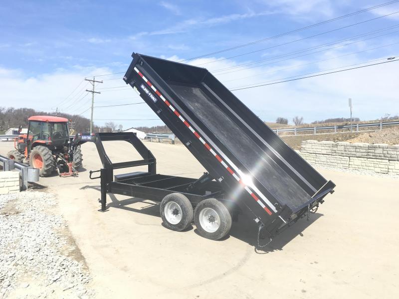 NEW Sure-Trac 8x14' HD Gooseneck Deckover Dump Trailer 14000# GVW - FOLD DOWN SIDES * CLEARANCE