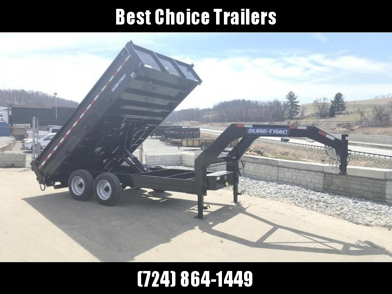 NEW Sure-Trac 8x14' HD Gooseneck Deckover Dump Trailer 14000# GVW - FOLD DOWN SIDES * CLEARANCE
