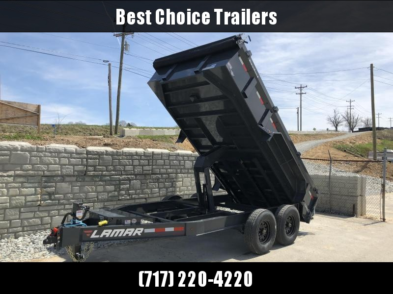 "2020 Lamar 7x12' Dump Trailer 14000# GVW * 7GA FLOOR * TARP KIT * UNDERMOUNT RAMPS * SCISSOR HOIST * 12K JACK * CHARCOAL WITH BLACK WHEELS * RIGID RAILS * HD COUPLER * NESTLED I-BEAM FRAME 28"" H * 3-WAY GATE * 12"" O.C. C/M * SPARE MOUNT"