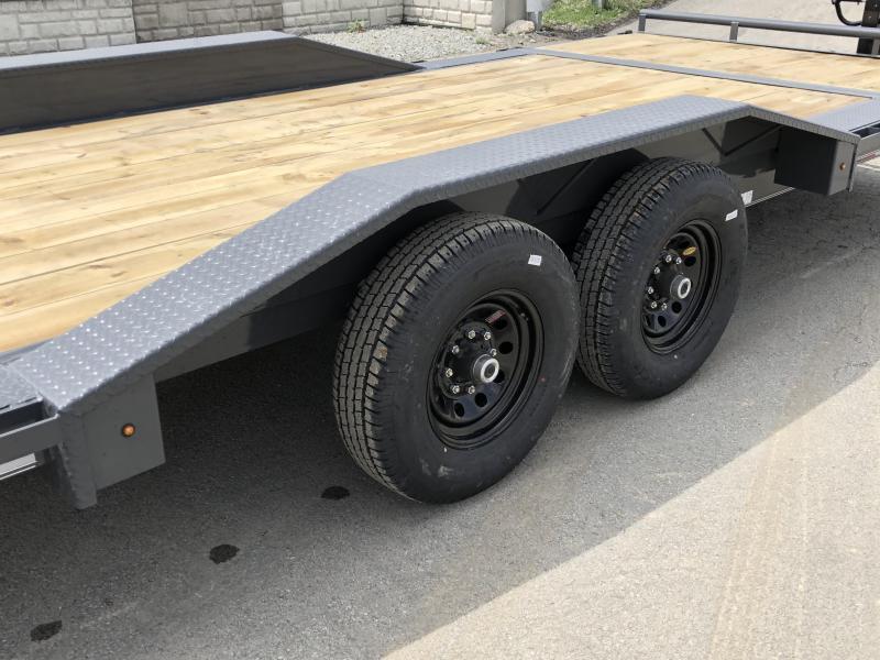 """2020 Lamar Gravity Tilt Equipment Trailer 102x16+4 14000# GVW * Torsion * Stop Valve * 102"""" Deck * Drive over fenders * Charcoal w/ black wheels"""