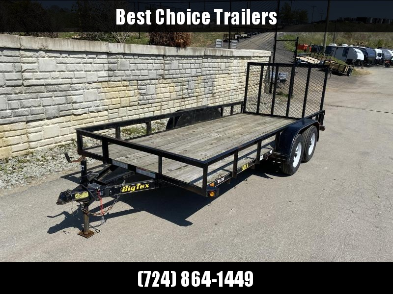 USED 2012 Big Tex Trailers 7x16' 5000# GVW Utility Trailer * TUBE TOP * TUBE GATE * SPARE TIRE MOUNT * D-RINGS *