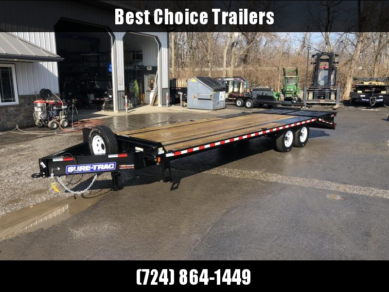 "2019 Sure-Trac 102x25' HD Beavertail Deckover Trailer 15000# GVW * FULL WIDTH RAMPS (STAND UP OR FLIPOVER) * 12"" I-BEAM MAINFRAME * PIERCED FRAME * RUBRAIL/STAKE POCKETS/PIPE SPOOLS/10 D-RINGS * CROSS TRAC BRACING * HD DOVETAIL * CLEARANCE"