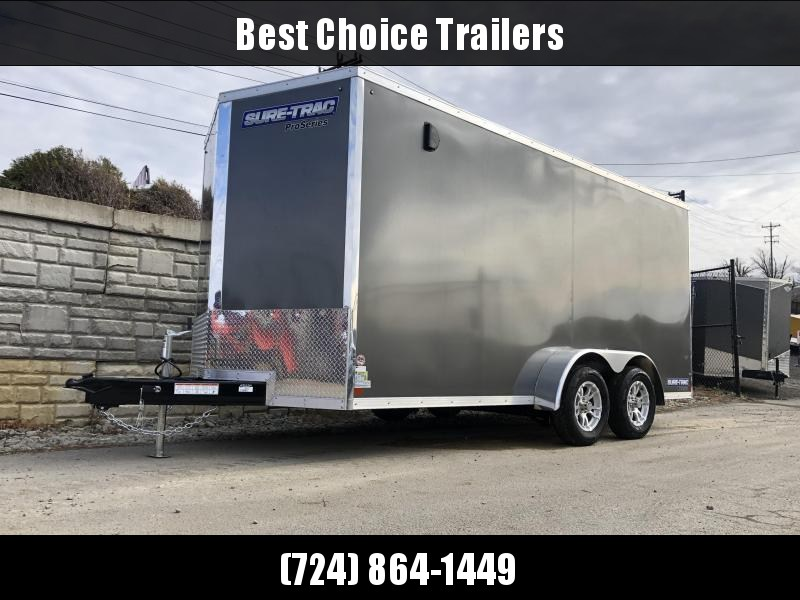 """2020 Sure-Trac 7x16' Enclosed Cargo Trailer 7000# GVW * CHARCOAL * SCREWLESS * ALUM WHEELS * 1PC ROOF * 6'6"""" H * 6"""" FRAME"""