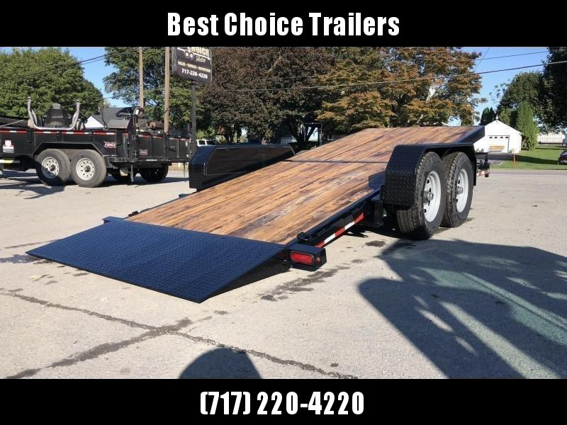 2020 Sure-Trac 7x18' Gravity Tilt Equipment Trailer 14000# GVW * OAK DECK UPGRADE IMPROVES TRACTION & DURABILITY * DROP AXLES/LOW LOAD ANGLE * RUBRAIL/STAKE POCKETS/D-RINGS * HD FENDERS * ADJUSTABLE CAST COUPLER * SPARE MOUNT * SEALED HARNESS