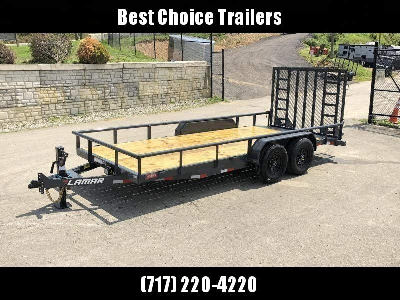 "2020 Lamar 7x18' Utility Landscape Trailer 9990# GVW * 5' HD RAMP W/ SPRING ASST * 16"" 10-PLY TIRES * 12K JACK * 2' DOVETAIL * PIPE TOP * CHARCOAL * 12K JACK * 5"" CHANNEL TONGUE/FRAME * CHANNEL C/M * ADJUSTABLE COUPLER"