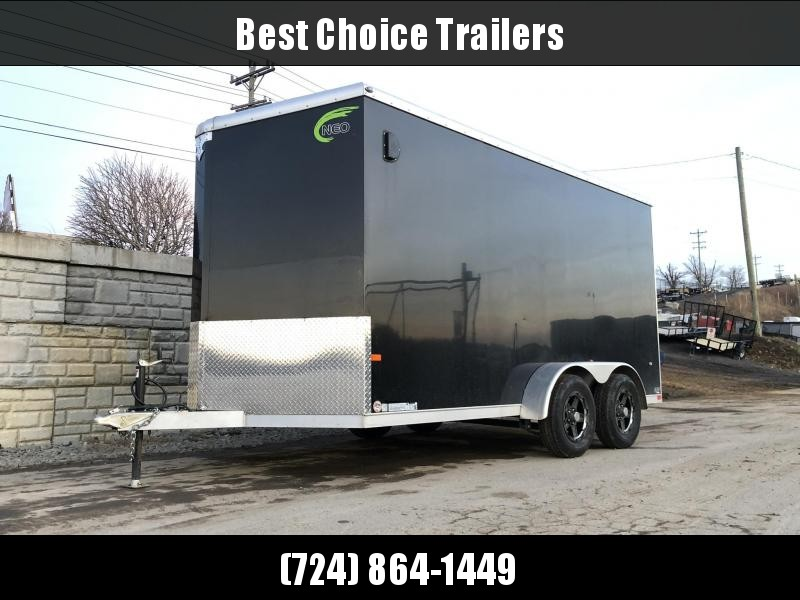 USED 2019 Neo 7x14 NAVR Aluminum Enclosed Cargo Trailer 7000# GVW * 7' HEIGHT UTV * RAMP DOOR * ALUMINUM WHEELS * PLASTIC VENTS