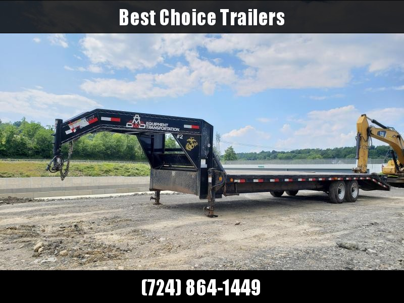 USED 2018 PJ 102x25+5 16000# Gooseneck Beavertail Deckover Trailer * FULL WIDTH RAMPS * 30' LENGTH * DEXTER 8000# AXLES * DUAL JACKS/FRONT TOOLBOX * CLEARANCE