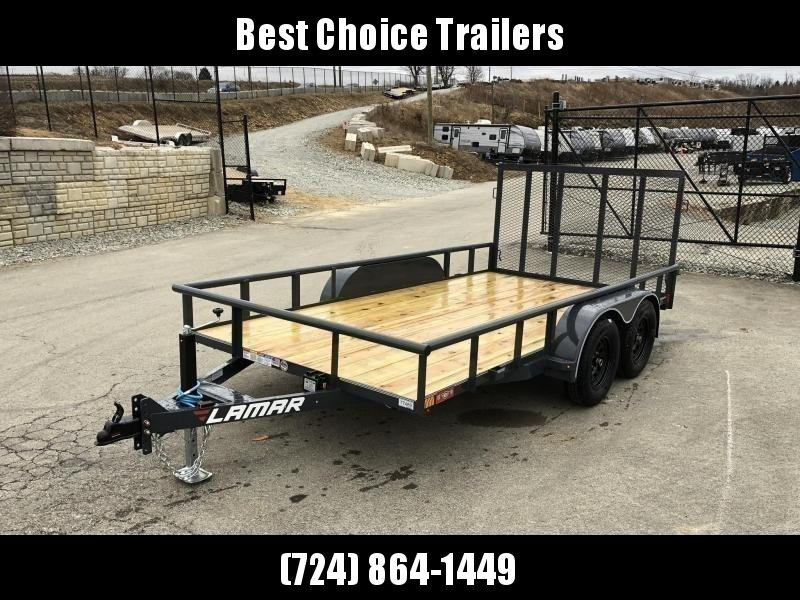 2020 Lamar 7x14' Utility Trailer 7000# GVW DELUXE * PIPE TOP * TUBE GATE * DROP LEG JACK * ADJUSTABLE COUPLER * CHARCOAL W BLACK WHEELS * SPRING ASSIST